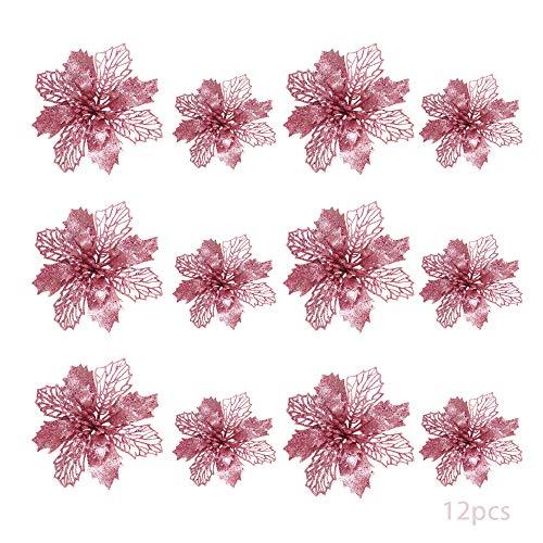 TDCQ 12pcs Flores Navidad Artificiales,Flores de Pascua Navidad,Flor de Simulación Navideña,Flores Navidad Artificiales,Flores Navidad (Rosado)