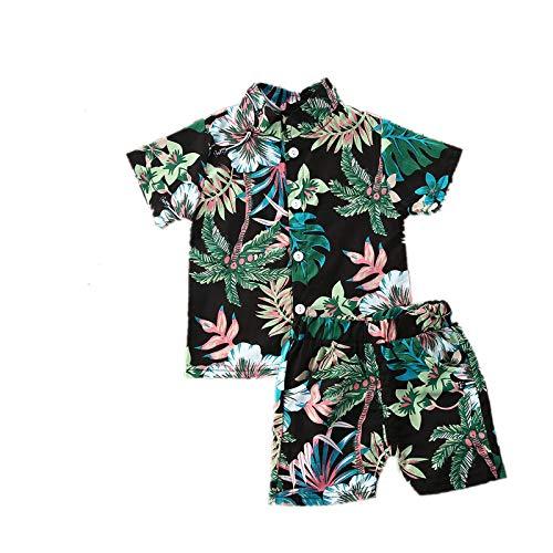 I3CKIZCE Conjunto de ropa para niños pequeños, de manga corta, estilo bohemio, con botones, camiseta y pantalones cortos, 2 piezas, para verano, para la playa, 1 – 5 años verde 6-12 Meses