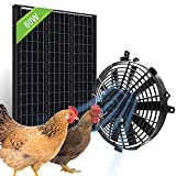 Pumplus Powerful Chicken Coop Cooler Fan, 60-Watt Solar Panel & 12in Solar Powered Fan, Ventilates Your House, Shed, Greenhouse, Garage - DELIVERY IN 2 PARCELS