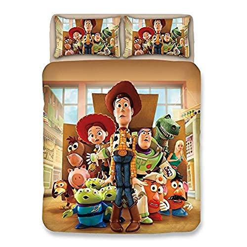 XWXBB Niciyo Toy Story - Juego de cama de 3 piezas con funda de edredón y 2 fundas de almohada, grueso y suave (A14, King 220 x 240 cm)