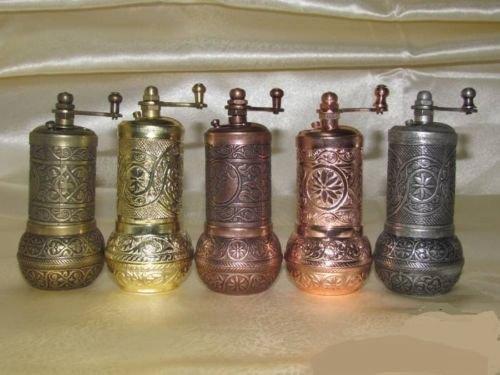5x 4'turkish Black Pepper Salt and Spice Grinder Mill-mat & Shiny Colors Set