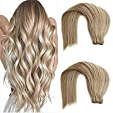 Balayage Sew in Weft Hair Extensions Human Hair Weave Bundles Real Remy Hair Extensions Beige Blonde Highlights Platinum Blonde Double Wefted Hair Weave for Women Can Clip in 100G 18Inch