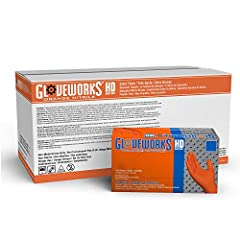 Gloveworks HD Industrial Orange Nitrile Gloves are constructed from heavy-duty 8 mil thick nitrile with raised diamond fully textured grip, measuring 9. 5 inches from fingertip to glove cuff. Industrial-grade nitrile gloves offer excellent elasticity...