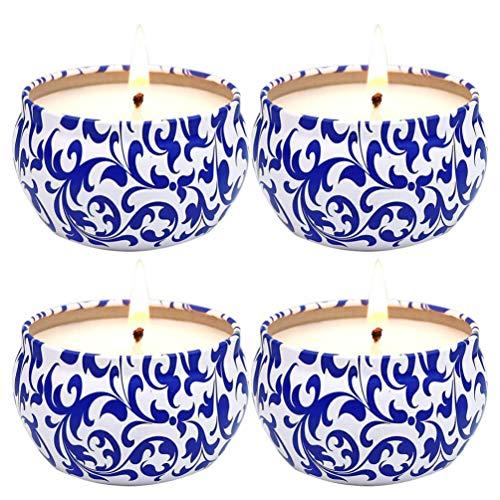 Garneck 4 Stks Aromatherapie Kaarsen Rookloze Geurkaars Natuurlijke Sojawas Blauw en Wit Porselein Pot Desktop Ornament