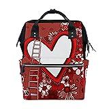 Ahomy - Mochila de senderismo impermeable para el día de San Valentín, diseño de búhos con marco de corazón y flores, mochila de trabajo para hombre y mujer