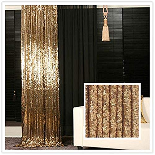 trlyc 125cm*215cm schimmernden Glanz Pailletten Stoff Fotografie Hintergrund für Hochzeit auf Verkauf Farben sind erhältlich, Sonstige, Golden, 4ft*7ft Pailletten Vorhang/Hintergrund