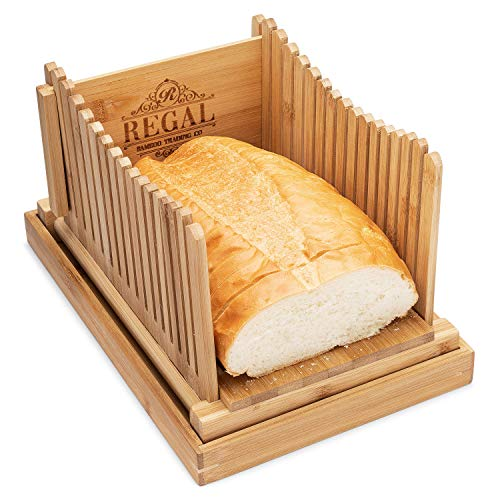 REGAL Bamboo Premium Bread Slicer - Slicing Guide - Bamboo Bread Cutter for Homemade Bread, Bagels, Cakes - Compact and Foldable with Crumb Tray