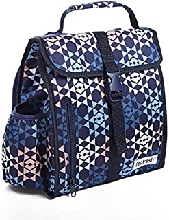 Fit & Fresh Diana Small Backpack, Insulated Daypack for Travel and Work, Navy Diamond Geo