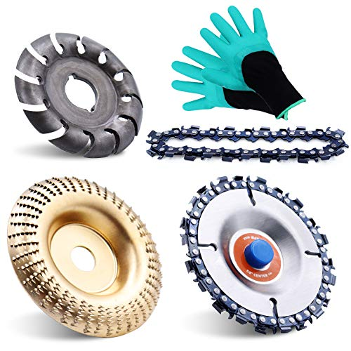 5 Pieces Angle Grinder Disc Set, Wood Carving disc Wheel 12 Teeth Wood Polishing Shaping Disc and Replacement Chain, Grinder Chain Disc for Woodworking Sanding Carving Grinding Wheel Tool with Gloves