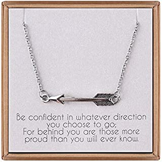 IEFLIFE Graduation Gifts for Her - Sideways Arrow Necklace Graduation Necklace with Inspirational Quote Graduation Jewelry Gifts