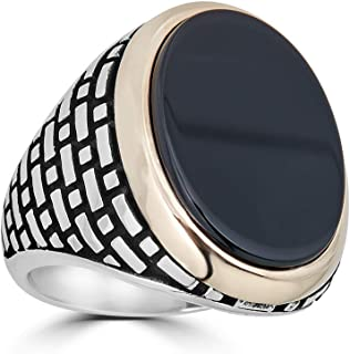 Harlembling Solid 925 Sterling Silver Mens Black Onyx Ring - Size 7-13
