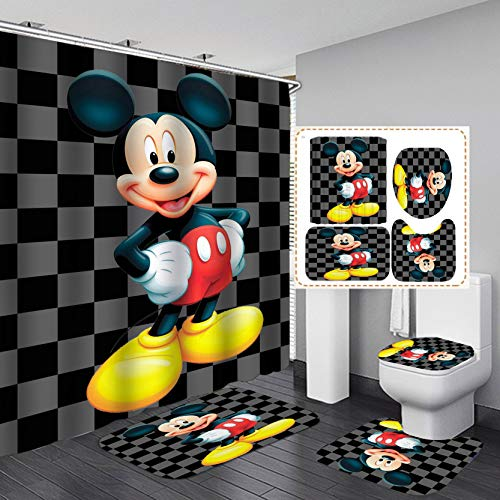 PINMJEE Kawaii Mickey Mouse Shower Curtain Set for Bathroom with Rugs 4 Piece,Cartoon Pattern Bathroom Decor with Toilet Lid Cover Bath Mat 12 Hooks