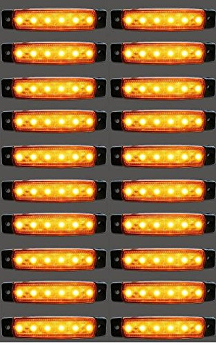 20 x 24 V LED côté Ambre de feux de gabarit Orange Camion Remorque Chassis caravane