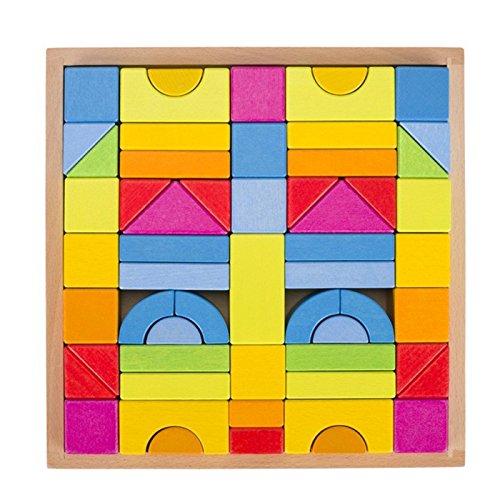 Goki 58624 Bausteine Regenbogenfarben 57-teilig aus Holz lasiert, Mehrfarbig