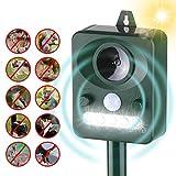 Kecheer Ahuyentador de gatos ultrasonidos solar con LED,Repelente de animales ultrasónico,Repelente de gatos y perros exterior para jardin,con sensor de movimiento de sonido