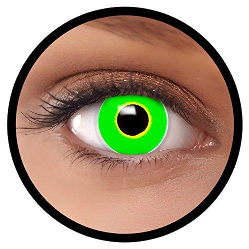 Farbige Kontaktlinsen grün Frosch + Behälter, weich, ohne Stärke in als 2er Pack (1 Paar)- angenehm zu tragen und perfekt für Halloween, Karneval, Fasching oder Fastnacht Kostüm