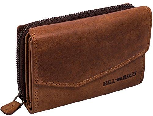 Hill Burry Damen Leder Geldbörse | Vintage Echt-Leder Portemonnaie mit vielen Fächern | Kompakte Geldbeutel - Portmonee (Braun)
