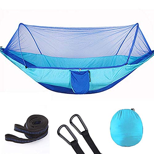 Beach Camping Hammock 1-2 Person Outdoor Mosquito Net Parachute Hammock Camping Pop-Up Hanging Sleeping Bed Swing Chair Portable Hammocks Tassel Double Hammock (Color : Blue blue 290 140)
