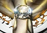 JenlyFavors Large Crystal Diamond Ring Napkin Rings Napkin Holder Wedding Banquet Dinner Decoration (Set of 12)