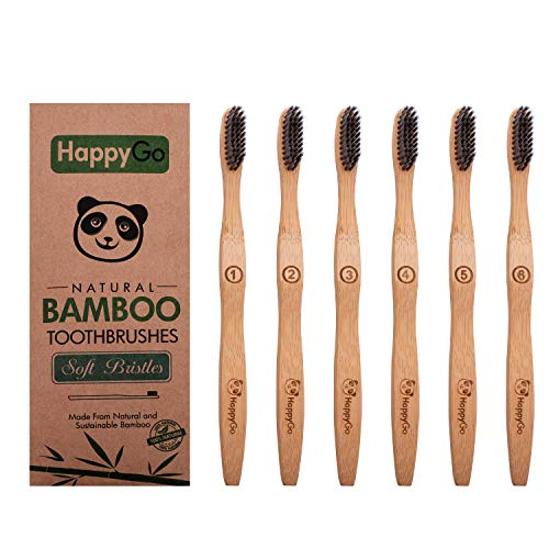 Natural Eco-Friendly Activated Charcoal Premium Bamboo Toothbrush | Pack of 6 | BPA Free Soft Bristle With Comfortable, Biodegradable Handle