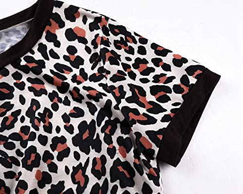 Dawwoti Vestido De Maternidad Casual para Mujer Vestido Vintage Ajustado con Estampado De Leopardo con