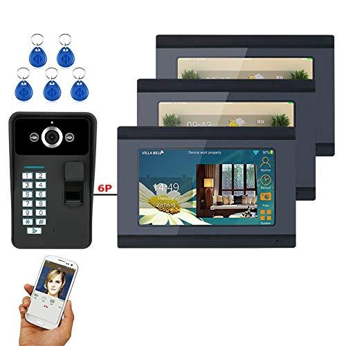 Timbre de puerta con vídeo WiFi de 7 pulgadas, 3 monitores + 1 cámara de visión nocturna, videoportero inalámbrico/con cables, intercomunicador de huellas dactilares, aplicación sin bloqueo