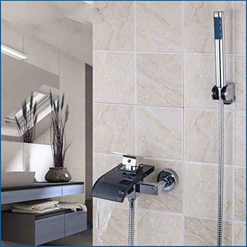 CLJ-LJ Surtidor de vidrio negro con mezclador montado en la pared y grifo de ducha
