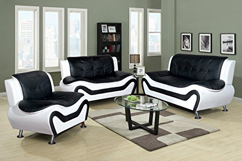 Beverly Fine Furniture 3 Piece Aldo Modern Sofa Set, Black/White