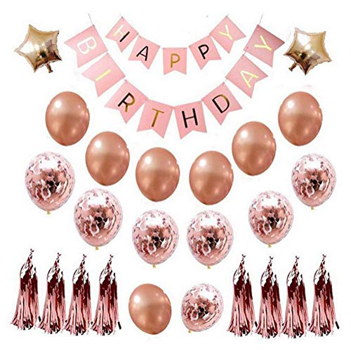 Rose Gold Happy Birthday Balloons Banner Set, Rose Gold Foil Balloons Confetti Balloons Star Balloons with Tassels and Ribbons for All Ages Birthday Party Supplies and Decorations
