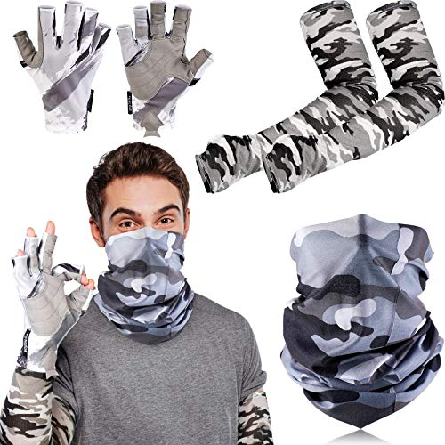5 Pieces Fishing Gloves Sun Protection Kit Include Camouflage UV Protection Gloves Fingerless Fishing Gloves Cooling Arm Sleeves Neck Gaiter Face Cover for Men and Women Outdoors, Kayaking (Gray,L)