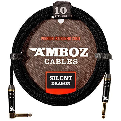 Cable de Instrumentos Silent Dragon negro - Sin ruido para Guitarra Eléctrica y Bajo - Conectores Silenciosos Dorados Plateados 3 metros de pulgada recto-angular 1/4 jack macho macho
