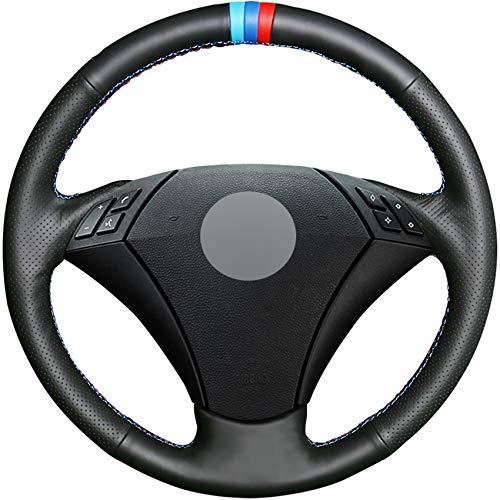 HCDSWSN Cubierta del Volante del Coche de Cuero Genuino Negro DIY para BMW E60 E61 520i 520li 523 523li 525 525i 530 530i 535 545i