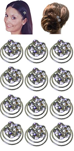 Dozen Pack Hair Twosts with Crystal Flower Ornament 7/16 in diameter NF83075-1htflr-Dcrystal by Bella