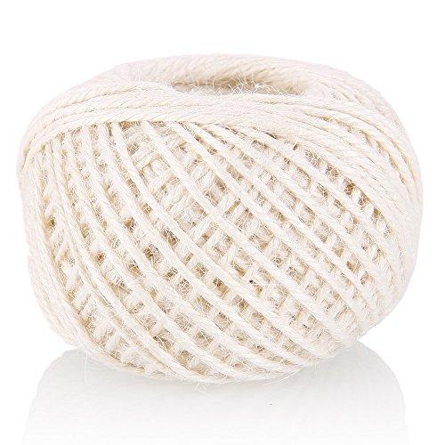 Rungao 50m DIY Bindfäden String Hanf Seil Foto Wand Dekoration Foto Verpackung Seil Gewinde Schnur Schaft,Weiß