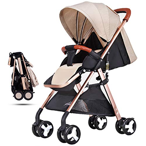 Best Price YYZZ Stroller, high-View Stroller one-Step Folding Light and Convertible Stroller with Re...