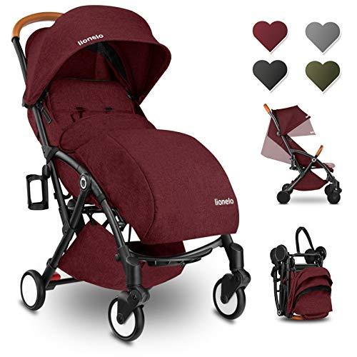 Lionelo Julie passeggino leggero pieghevole con zanzariera portabibite borsa per genitori da 0 mesi fino 22 kg con posizione sdraiata poggiapiedi regolabile (Borgogna)