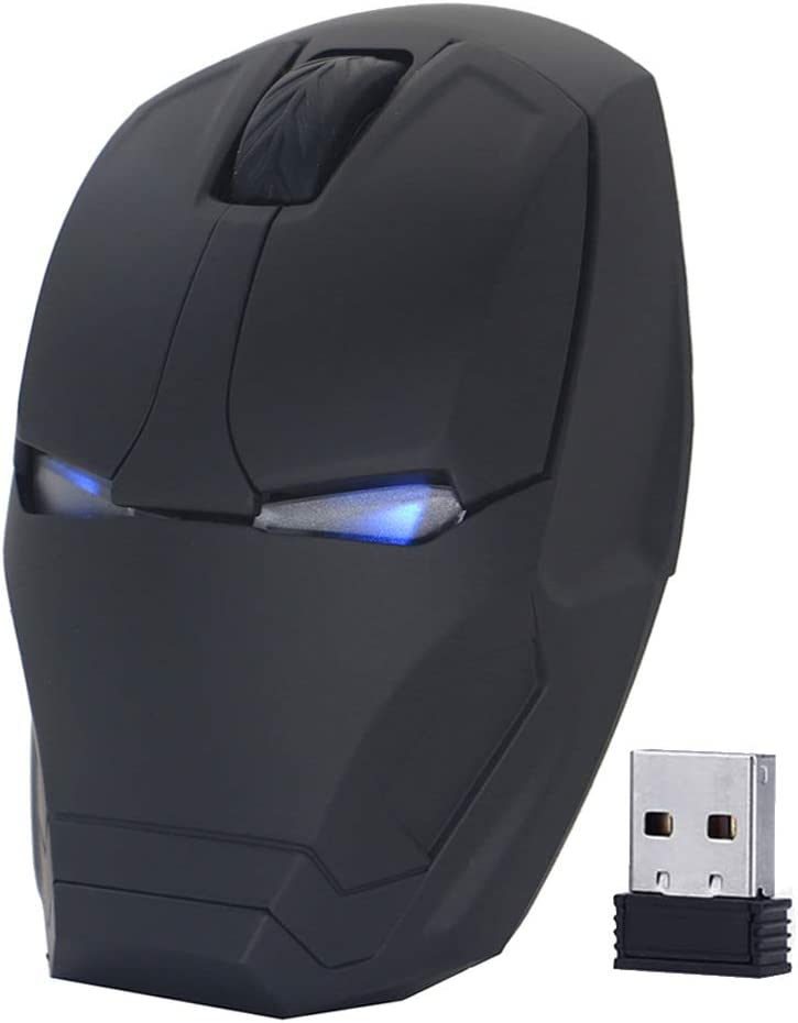 ECOiNVA Wireless Iron Man Mouse 2.4G Optical Computer Mouse for Desktop Laptop PC Mac (Black)