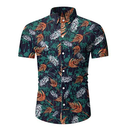 Yowablo Herren Hemd Hawaiihemd Freizeithemd Kurzarm Hemd Herren Kurzarm (L,9Grün)