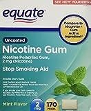 Equate - Nicotine Gum Polacrilex 2 mg, Stop Smoking Aid, Mint Flavor, 170 Pieces