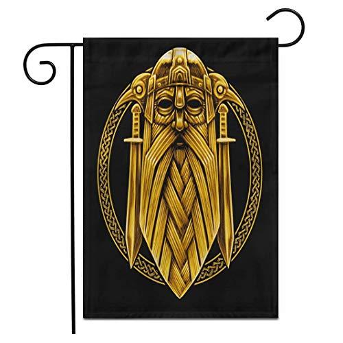 hongwei 12.5 'x 18' Bandera del jardín Dios nórdico Odin con Cuervos y Espadas Gráfico en el Anillo Adorno Celta Vikingo Exterior de Doble Cara Decorativo Casa Patio Banderas