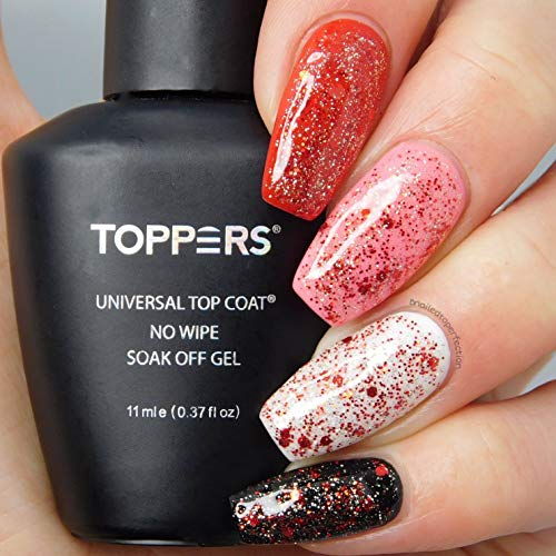 Toppers UV Glitter Red Gel Nagellack, No Wipe Top Coat Gel, für Gel Nagellack und Nagellack, Gel...