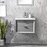 UrbanFurnishing.net Danbury 24' Single Bathroom Vanity with Porcelain Top - Gray