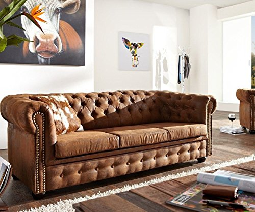 DELIFE 3-Sitzer Chesterfield Braun 200x92 cm Vintage Optik Sofa