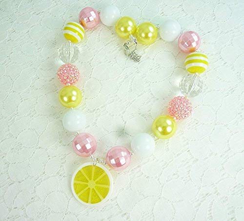"Bubblegum Necklace, Teen Girl's""Lemonade"" Beaded Neck wear, Birthday, Woman's Chunky Fashion Jewelry. Pink Lemonade Add-On Bracelet, Photo Prop, Handmade in the USA"