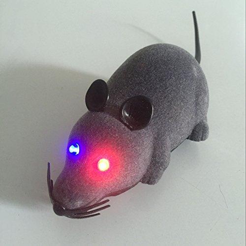 Twshiny Giocattolo del Mouse Senza Fili di Telecomando LED RC Rat per Gatto Domestico del Cane del Regalo della novità Divertente Grigio