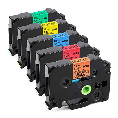 Labelife Compatible Label Tape Replacment for Brother Ptouch TZe TZ Tape 12mm 0.47 Inch Laminated Black on Orange/Red/Blue/Yellow/Green Compatible with Brother P Touch D210 D400 1280 1800 1880, 5-Pack
