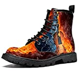 Azul Negro Guitarra Trueno Fuego Impermeable Zapatos Planos Encaje Tobillo Botines Bajo Tacón Trabajo Botas de Combate, color, talla 42 2/3 EU