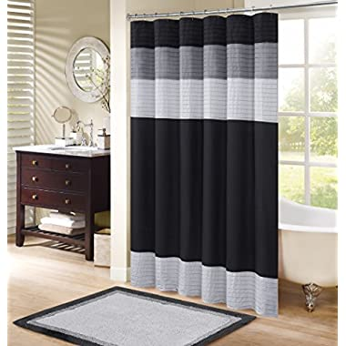 Comfort Spaces Windsor Shower Curtain – Black - Grey – Panel Design - 72x72 inches