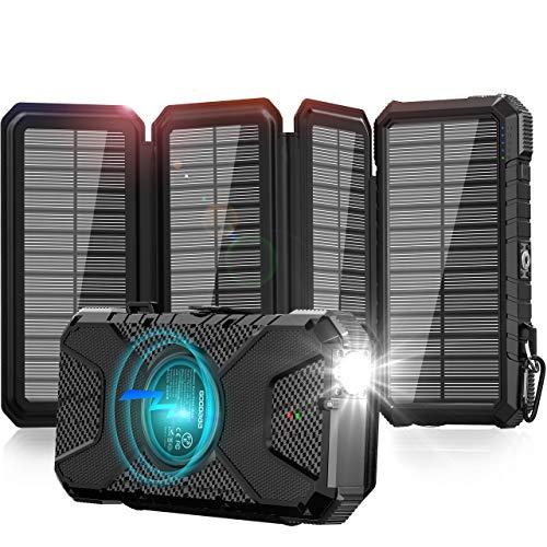 GOODaaa Solar Powerbank 26800mAh QI Drahtloses Solarladegerät mit 3 Ausgängen, Solar Power Bank im Freien für alle Smartphones, Tablets und USB-Geräte