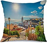 Funda de almohada Paisaje Candelaria España Ciudad de vacaciones en Ocean Square Tenerife Canarias Monumentos Parques Ropa de exterior para exteriores Cómoda funda de cojín para silla de coche Sofá Ca